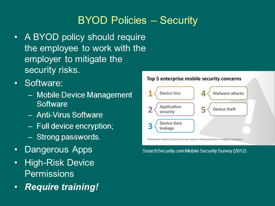BYOD Policies – Security A BYOD policy should require the employee to work with the employer to mitigate the security risks. Software: –Mobile Device