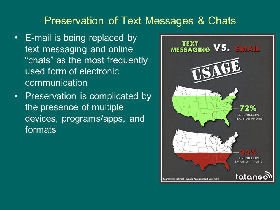 Preservation of Text Messages & Chats E-mail is being replaced by text messaging and online chats as the most frequently used form of electronic communication Preservation is complicated by the presence of multiple devices, programs/apps, and formats