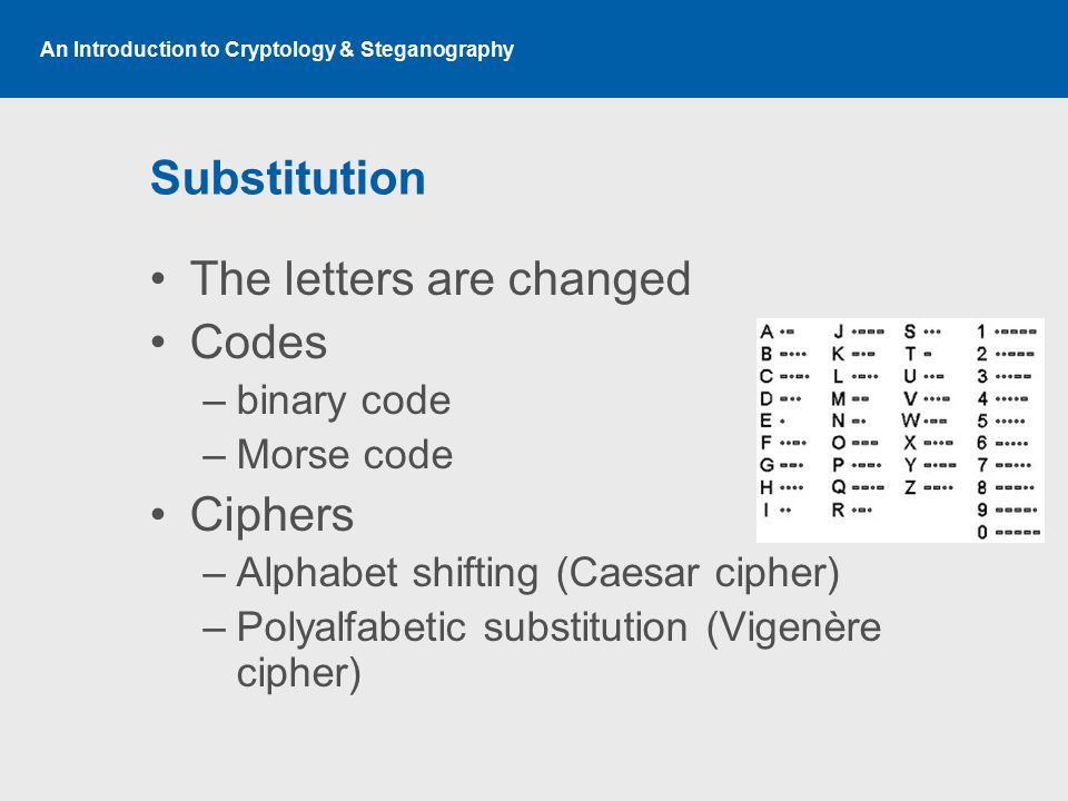 An Introduction to Cryptology & Steganography Substitution The letters are changed Codes –binary code –Morse code Ciphers –Alphabet shifting (Caesar cipher) –Polyalfabetic substitution (Vigenère cipher)