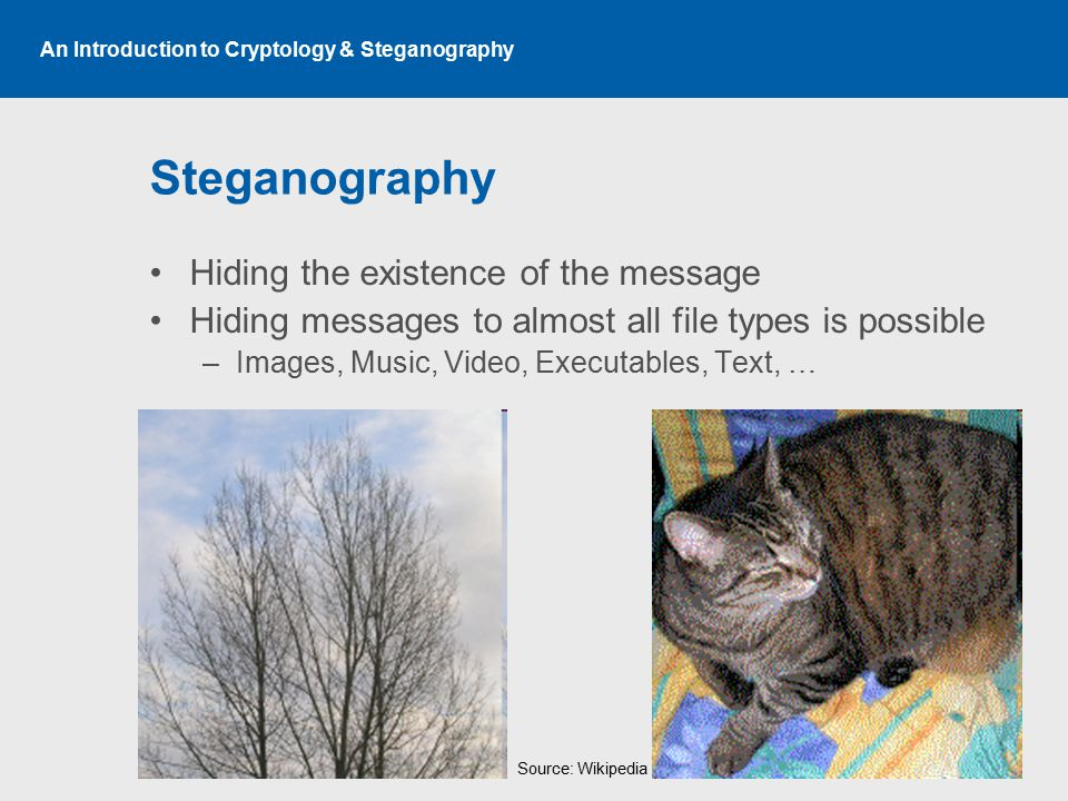 An Introduction to Cryptology & Steganography Steganography Hiding the existence of the message Hiding messages to almost all file types is possible –Images, Music, Video, Executables, Text, … Source: Wikipedia