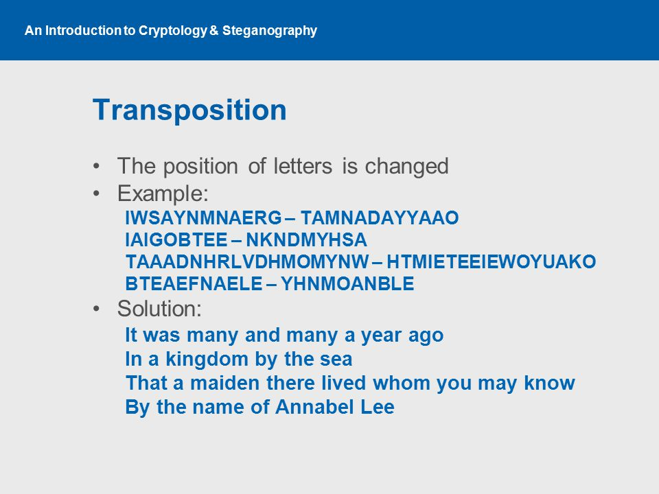 An Introduction to Cryptology & Steganography Transposition The position of letters is changed Example: IWSAYNMNAERG – TAMNADAYYAAO IAIGOBTEE – NKNDMYHSA TAAADNHRLVDHMOMYNW – HTMIETEEIEWOYUAKO BTEAEFNAELE – YHNMOANBLE Solution: It was many and many a year ago In a kingdom by the sea That a maiden there lived whom you may know By the name of Annabel Lee