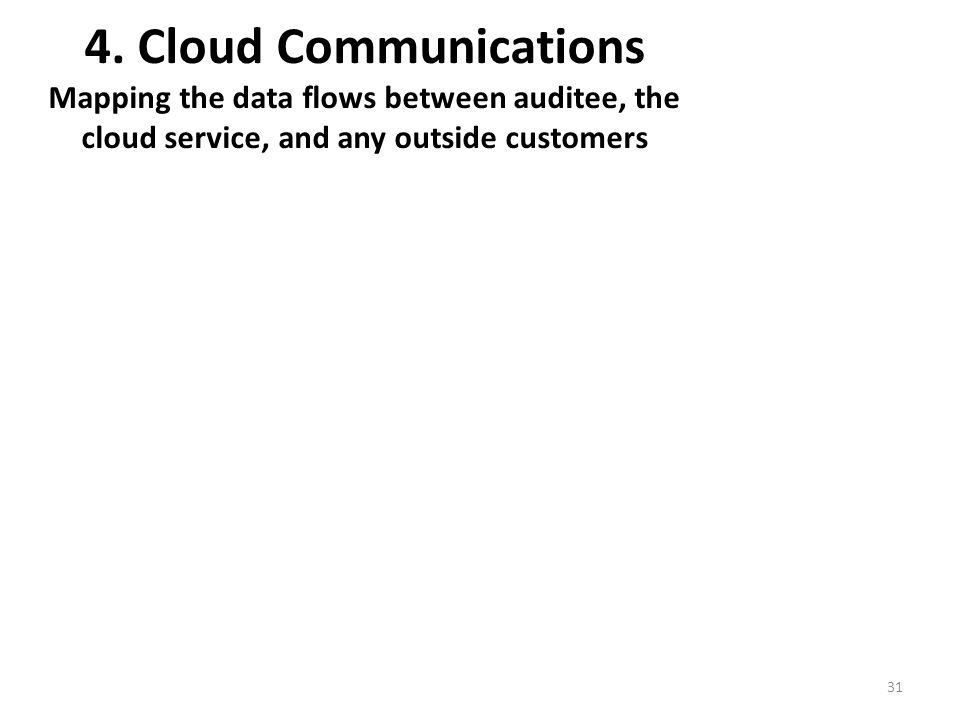 4. Cloud Communications Mapping the data flows between auditee, the cloud service, and any outside customers 31