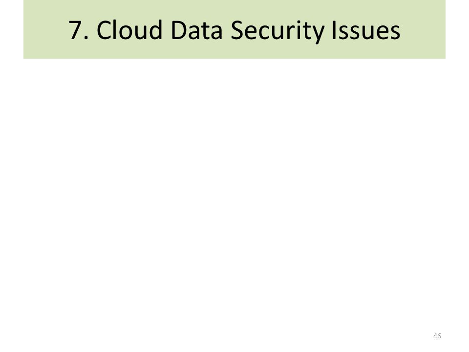 7. Cloud Data Security Issues 46
