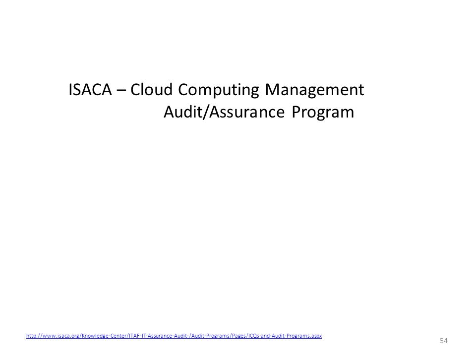 54 http://www.isaca.org/Knowledge-Center/ITAF-IT-Assurance-Audit-/Audit-Programs/Pages/ICQs-and-Audit-Programs.aspx ISACA – Cloud Computing Management Audit/Assurance Program