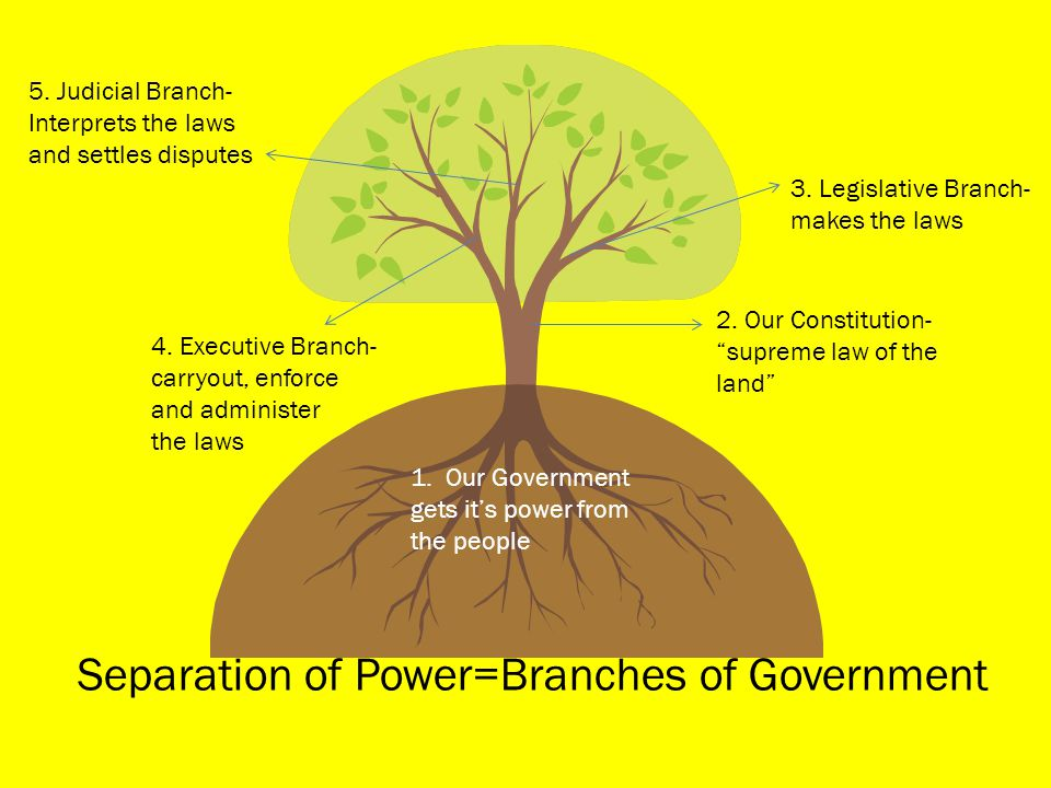 "Separation of Power=Branches of Government 1. Our Government gets it's power from the people 2. Our Constitution- ""supreme law of the land"" 3. Legisla"