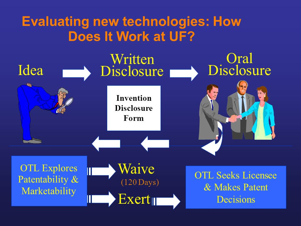 Evaluating new technologies: How Does It Work at UF? Idea Invention Disclosure Form Written Disclosure Oral Disclosure Exert Waive OTL Explores Patent