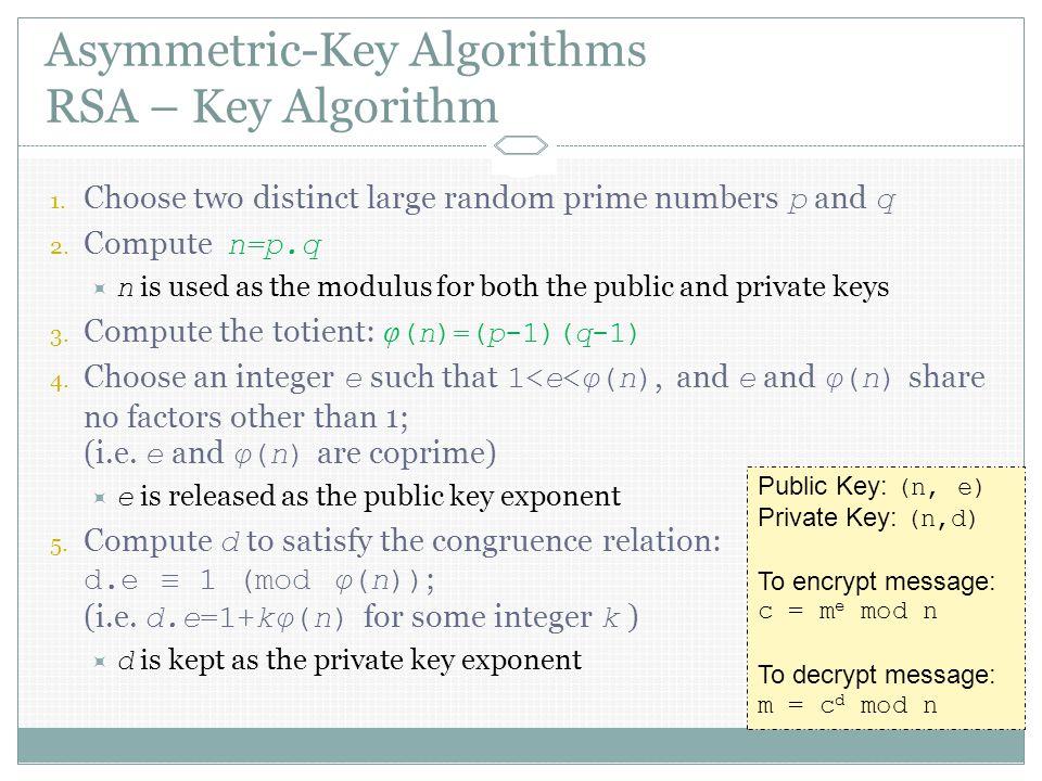 Asymmetric-Key Algorithms RSA – Key Algorithm 1.