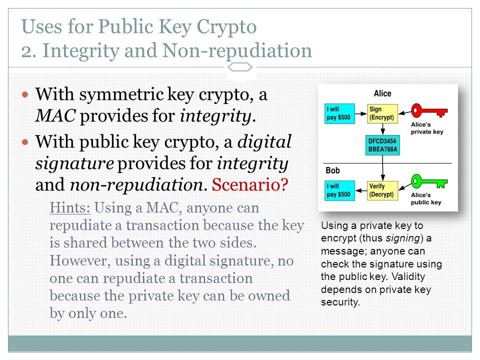 Uses for Public Key Crypto 2.