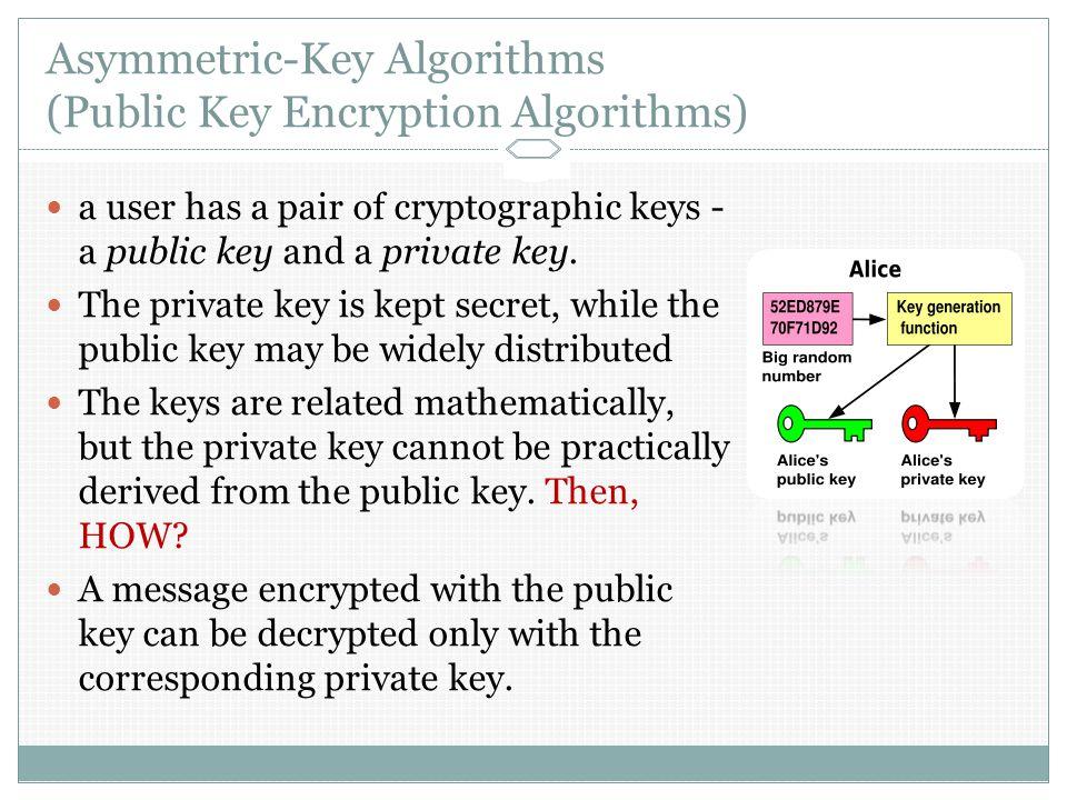Asymmetric-Key Algorithms (Public Key Encryption Algorithms) a user has a pair of cryptographic keys - a public key and a private key.