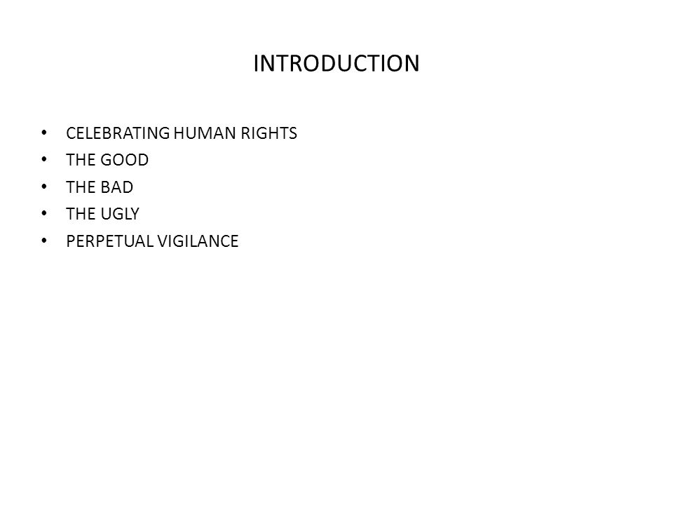 INTRODUCTION CELEBRATING HUMAN RIGHTS THE GOOD THE BAD THE UGLY PERPETUAL VIGILANCE