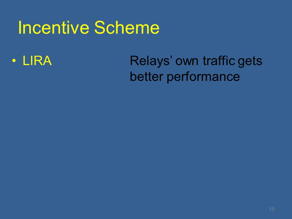 LIRARelays' own traffic gets better performance Incentive Scheme 15