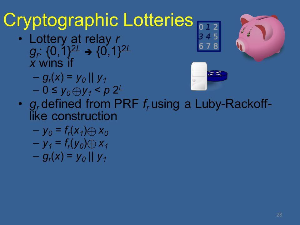 Cryptographic Lotteries Lottery at relay r g r : {0,1} 2L  {0,1} 2L x wins if –g r (x) = y 0 || y 1 –0 ≤ y 0 y 1 < p 2 L g r defined from PRF f r using a Luby-Rackoff- like construction –y 0 = f r (x 1 ) x 0 –y 1 = f r (y 0 ) x 1 –g r (x) = y 0 || y 1 28