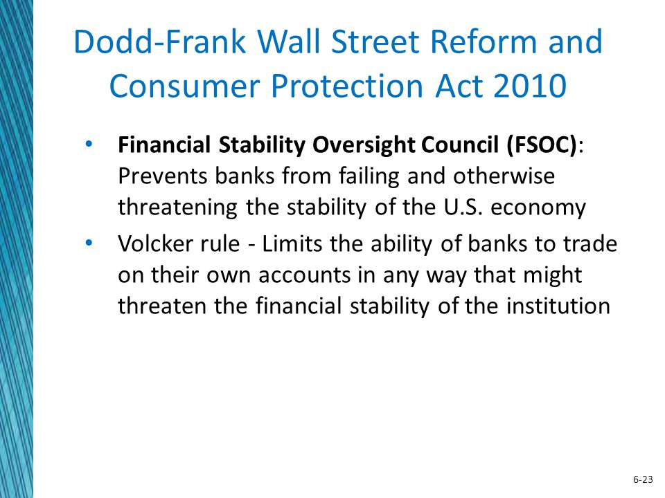 6-23 Dodd-Frank Wall Street Reform and Consumer Protection Act 2010 Financial Stability Oversight Council (FSOC): Prevents banks from failing and othe