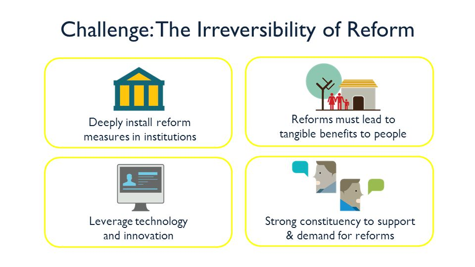 Deeply install reform measures in institutions Reforms must lead to tangible benefits to people Leverage technology and innovation Strong constituency to support & demand for reforms Challenge: The Irreversibility of Reform