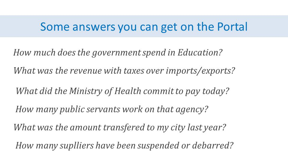 Some answers you can get on the Portal How much does the government spend in Education.