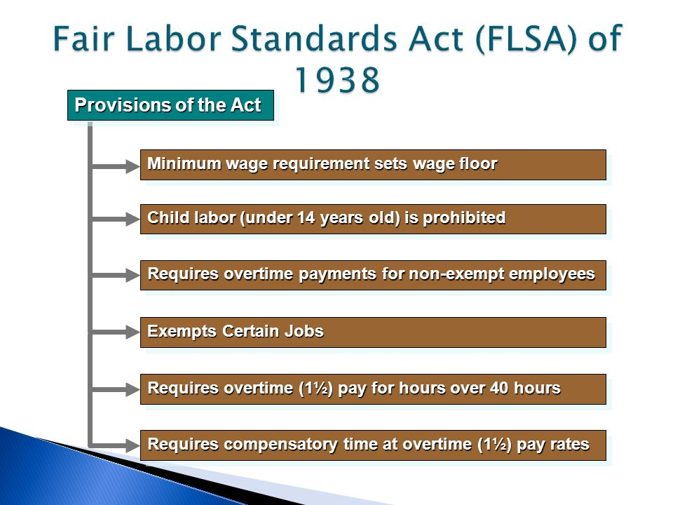 Provisions of the Act Minimum wage requirement sets wage floor Child labor (under 14 years old) is prohibited Requires overtime payments for non-exempt employees Exempts Certain Jobs Requires overtime (1½) pay for hours over 40 hours Requires compensatory time at overtime (1½) pay rates