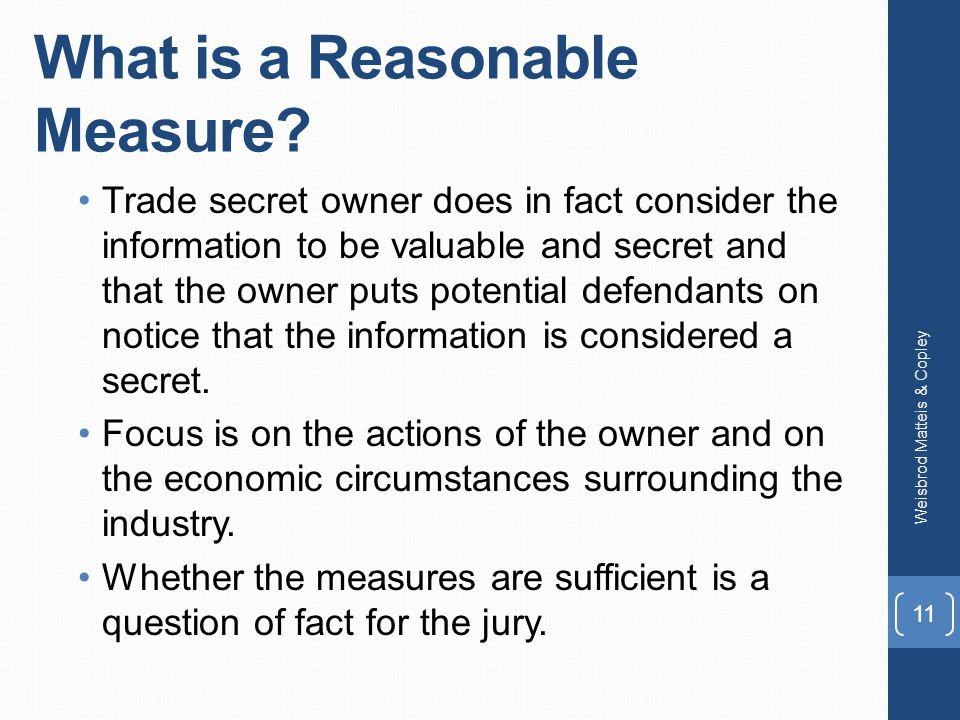 What is a Reasonable Measure.