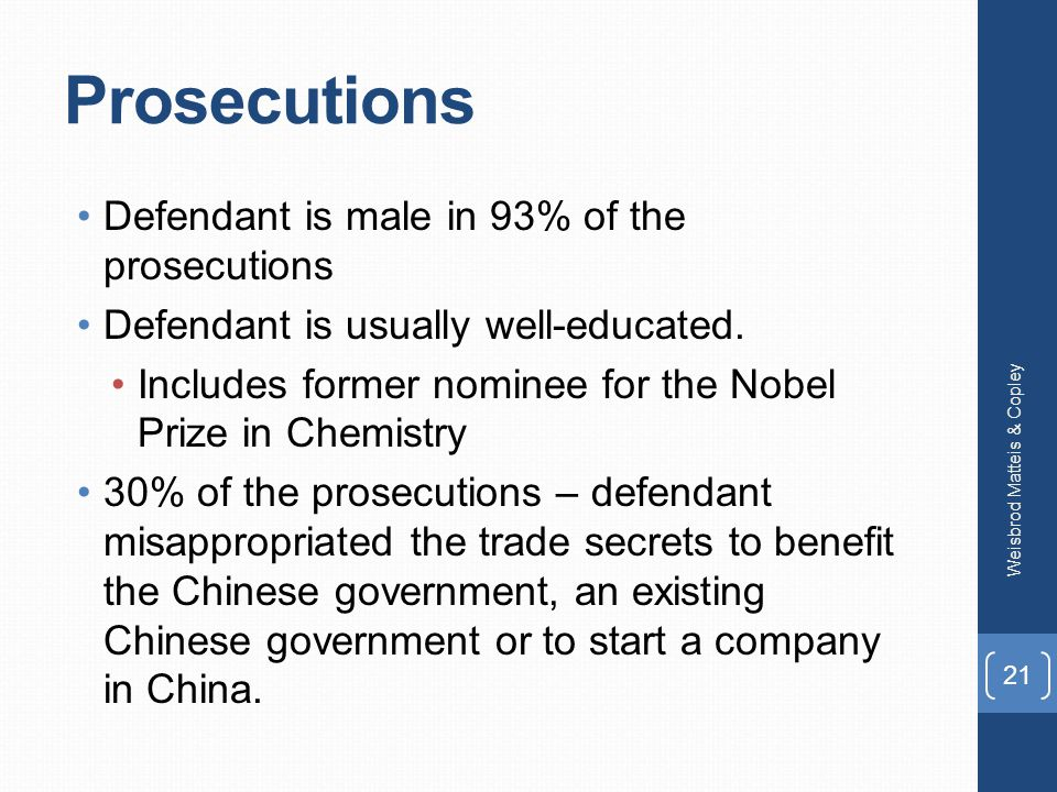 Prosecutions Defendant is male in 93% of the prosecutions Defendant is usually well-educated.