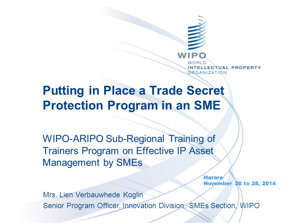 Putting in Place a Trade Secret Protection Program in an SME WIPO-ARIPO Sub-Regional Training of Trainers Program on Effective IP Asset Management by
