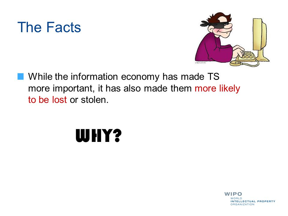 The Facts While the information economy has made TS more important, it has also made them more likely to be lost or stolen. WHY?