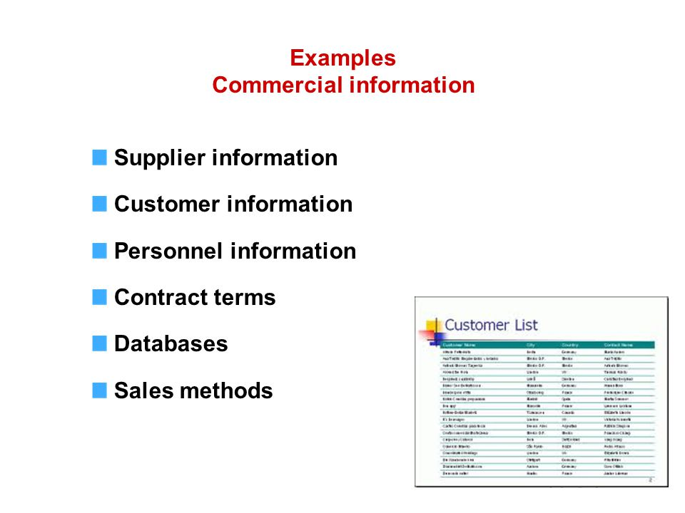 Supplier information Customer information Personnel information Contract terms Databases Sales methods Examples Commercial information