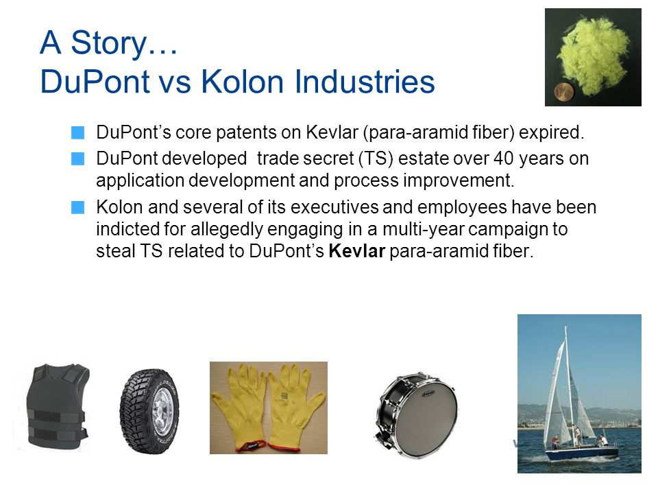 A Story… DuPont vs Kolon Industries DuPont's core patents on Kevlar (para-aramid fiber) expired. DuPont developed trade secret (TS) estate over 40 yea