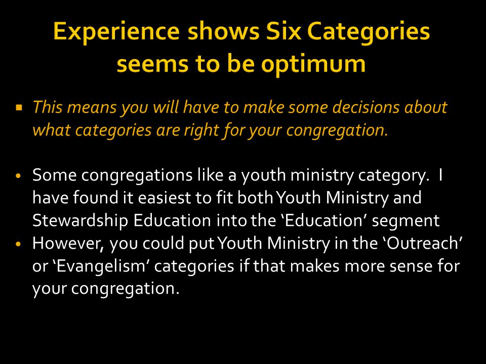 Experience shows Six Categories seems to be 0ptimum  This means you will have to make some decisions about what categories are right for your congregation.