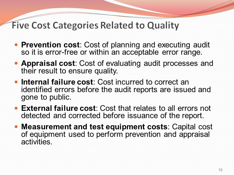 Prevention cost: Cost of planning and executing audit so it is error-free or within an acceptable error range.