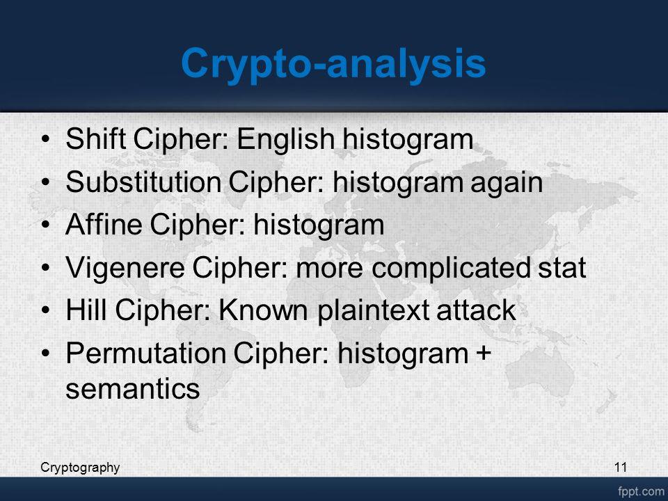 Crypto-analysis Shift Cipher: English histogram Substitution Cipher: histogram again Affine Cipher: histogram Vigenere Cipher: more complicated stat H