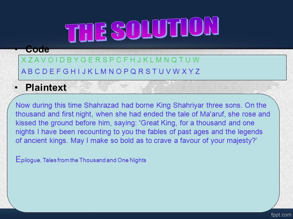 18 Code Plaintext Now during this time Shahrazad had borne King Shahriyar three sons.