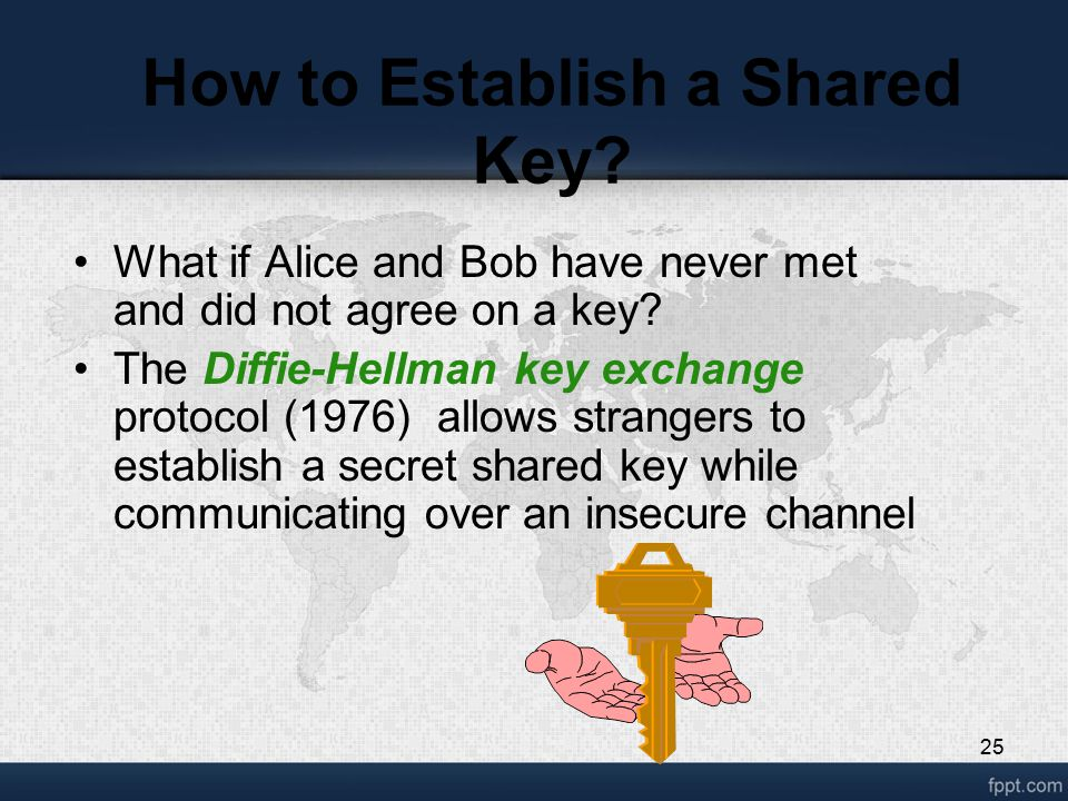25 How to Establish a Shared Key? What if Alice and Bob have never met and did not agree on a key? The Diffie-Hellman key exchange protocol (1976) all