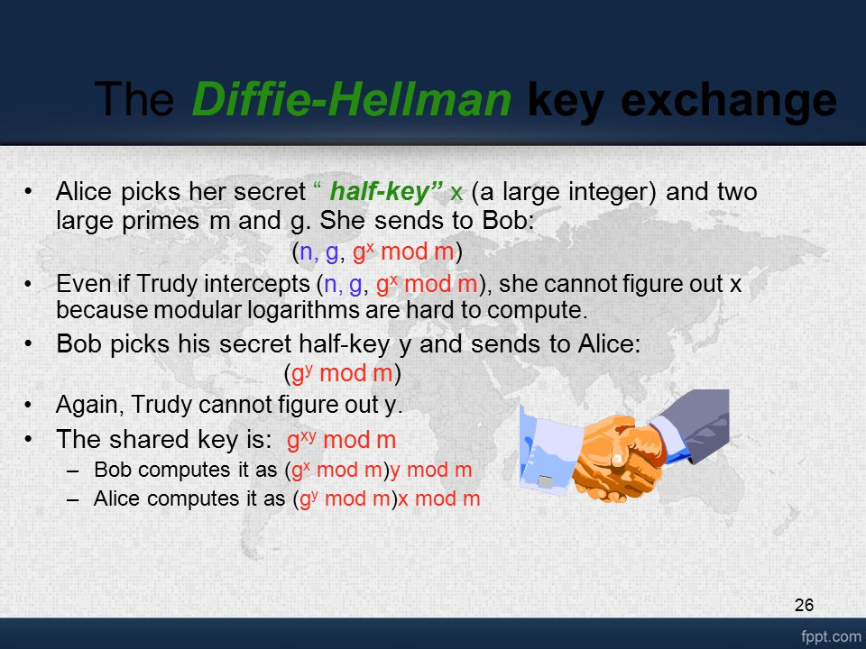 """26 The Diffie-Hellman key exchange Alice picks her secret """" half-key"""" x (a large integer) and two large primes m and g. She sends to Bob: (n, g, g x m"""