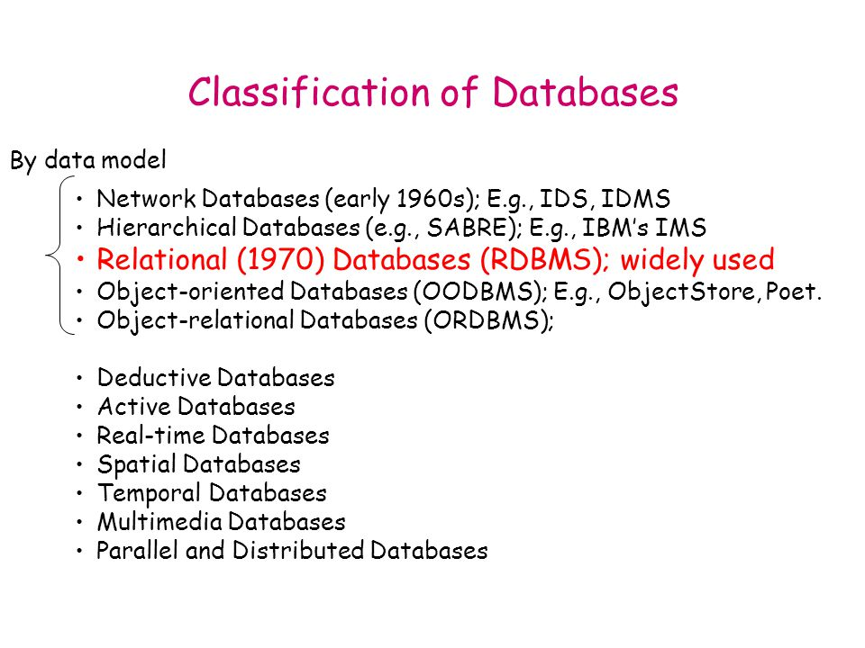 Classification of Databases Network Databases (early 1960s); E.g., IDS, IDMS Hierarchical Databases (e.g., SABRE); E.g., IBM's IMS Relational (1970) Databases (RDBMS); widely used Object-oriented Databases (OODBMS); E.g., ObjectStore, Poet.