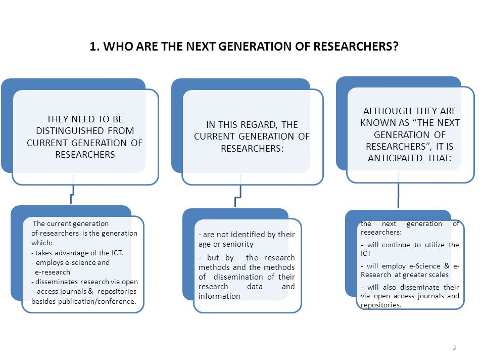 1. WHO ARE THE NEXT GENERATION OF RESEARCHERS? THEY NEED TO BE DISTINGUISHED FROM CURRENT GENERATION OF RESEARCHERS IN THIS REGARD, THE CURRENT GENERA