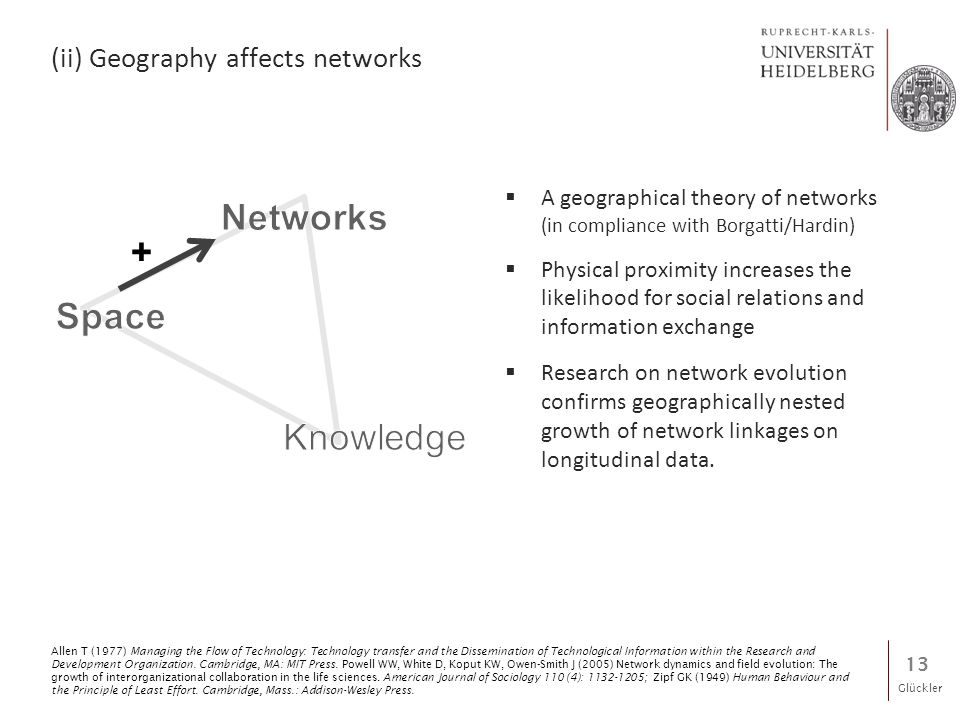 Glückler (ii) Geography affects networks  A geographical theory of networks (in compliance with Borgatti/Hardin)  Physical proximity increases the likelihood for social relations and information exchange  Research on network evolution confirms geographically nested growth of network linkages on longitudinal data.