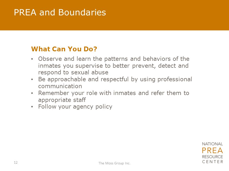 PREA and Boundaries What Can You Do.