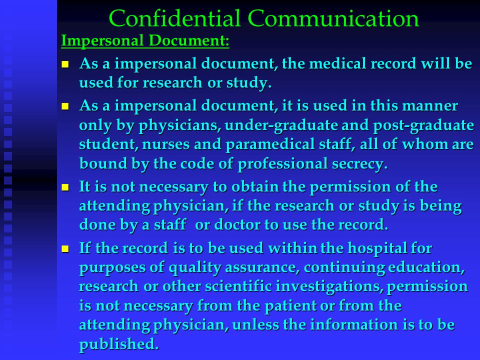 Medical Record in Court The presentation of information from medical records as evidence in court is done not only to provide information for medical and administrative purposes but, also to individuals and organizations having a legitimate need to know its contents as it contains data of highest value.