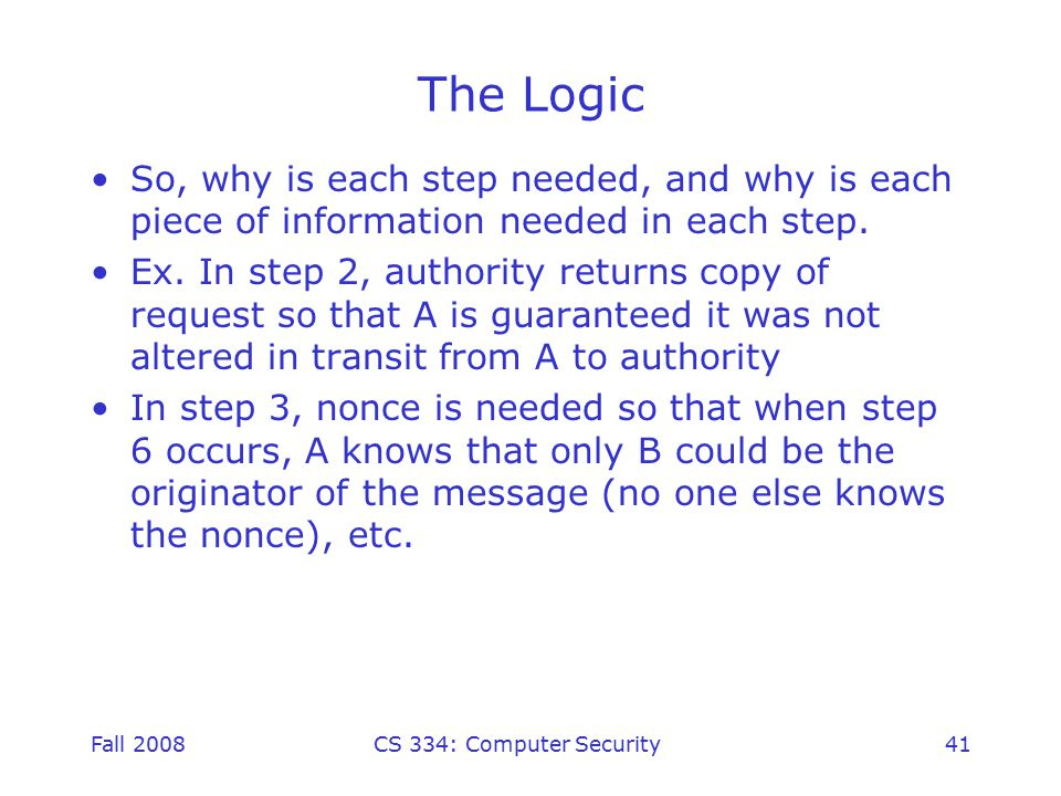 Fall 2008CS 334: Computer Security41 The Logic So, why is each step needed, and why is each piece of information needed in each step.