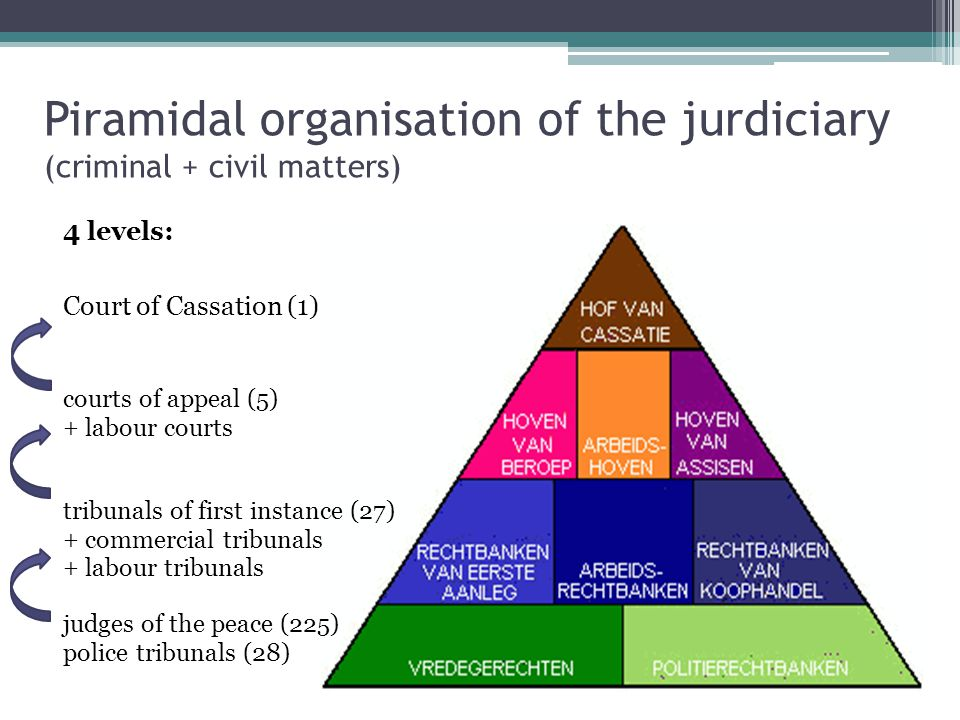 Piramidal organisation of the jurdiciary (criminal + civil matters) 4 levels: judges of the peace (225) police tribunals (28) tribunals of first insta