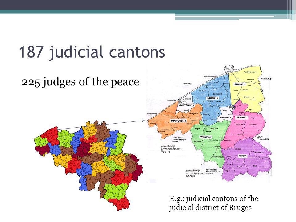187 judicial cantons 225 judges of the peace E.g.: judicial cantons of the judicial district of Bruges