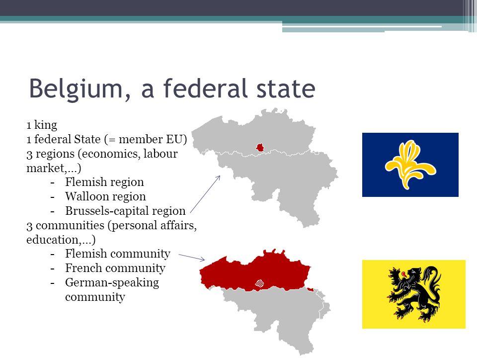Belgium, a federal state 1 king 1 federal State (= member EU) 3 regions (economics, labour market,…) -Flemish region -Walloon region -Brussels-capital