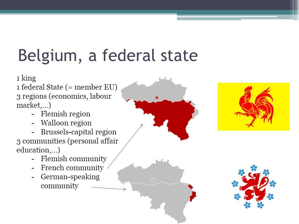 1 king 1 federal State (= member EU) 3 regions (economics, labour market,…) -Flemish region -Walloon region -Brussels-capital region 3 communities (pe