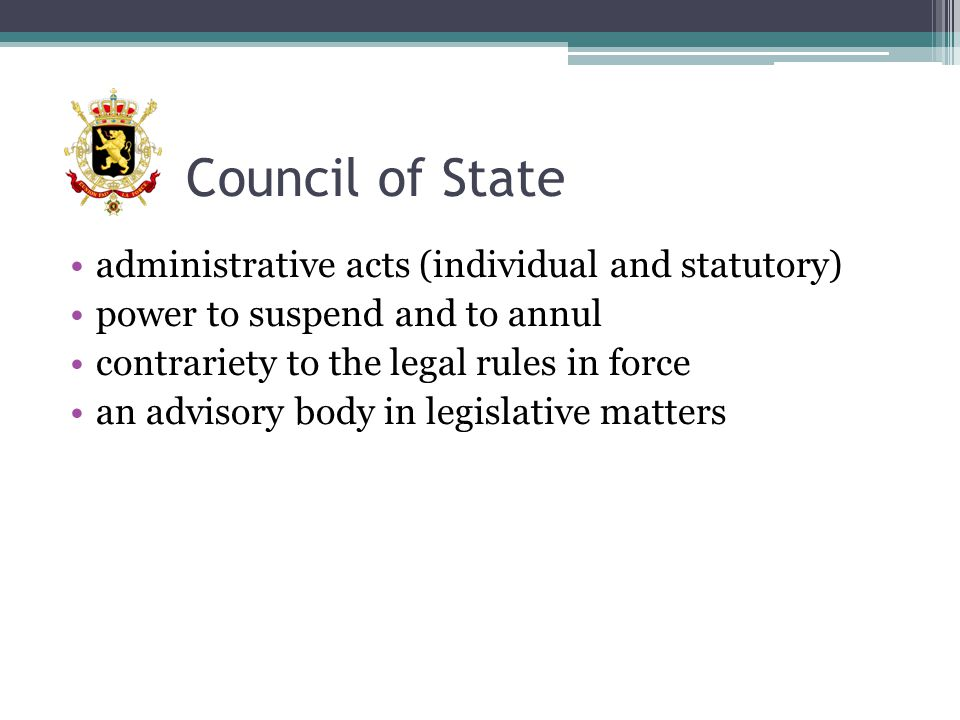 magistrates = public prosecutors + judges magistrates are appointed for life by the King (governement) after selection procedure before the Counsel of Justice ▫independent body ▫composition: magistrates + lawyers + non-magistrates kandidates: 3 ways of access to the selection procedure ▫highly experienced lawyers (>20 years at bar) => oral examination ▫experienced lawyers (>10/12 years relevant professional experience) => selective examination ▫judicial trainees ( comparative examination + evaluation of period of traineeship