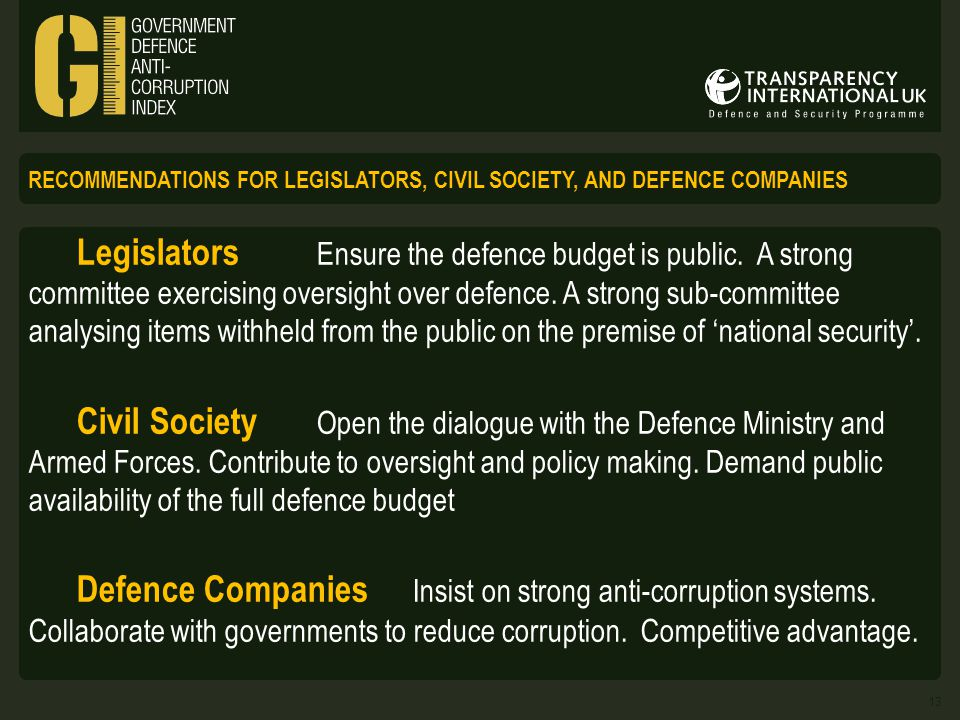 RECOMMENDATIONS FOR LEGISLATORS, CIVIL SOCIETY, AND DEFENCE COMPANIES Legislators Ensure the defence budget is public.