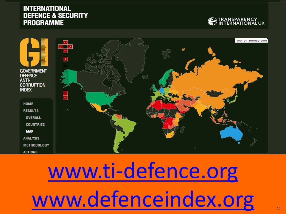 THE WEBSITE: WWW.DEFENCEINDEX.ORG www.ti-defence.org www.defenceindex.org 15
