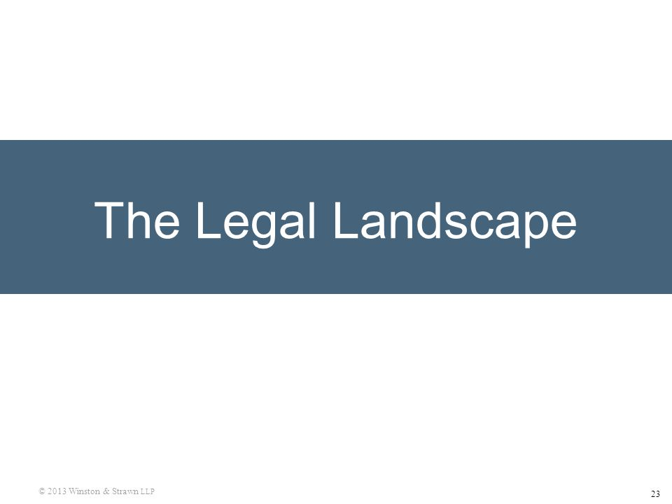 23 © 2013 Winston & Strawn LLP The Legal Landscape