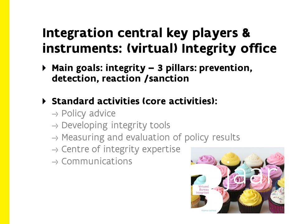Integration central key players & instruments: (virtual) Integrity office Main goals: integrity – 3 pillars: prevention, detection, reaction /sanction Standard activities (core activities): Policy advice Developing integrity tools Measuring and evaluation of policy results Centre of integrity expertise Communications