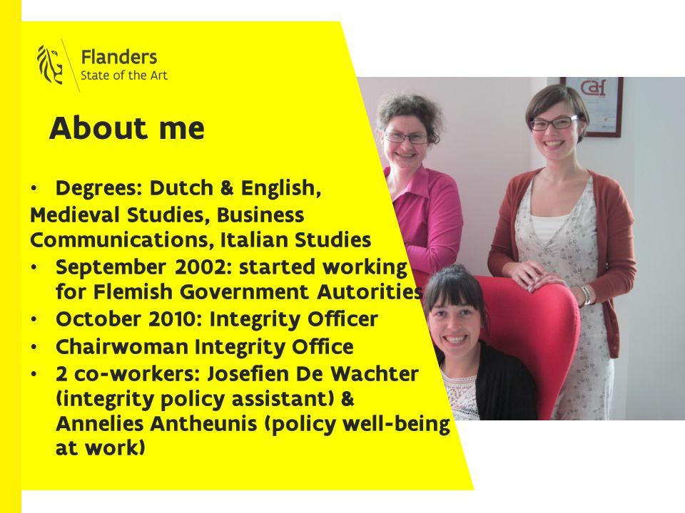 My organization: Flemish government authorities Flanders: Dutch-speaking northern part of Belgium.