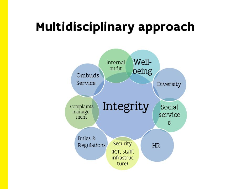 Multidisciplinary approach Integrity Well- being Social service s Internal audit Complaints manage- ment Diversity HR Rules & Regulations Ombuds Service
