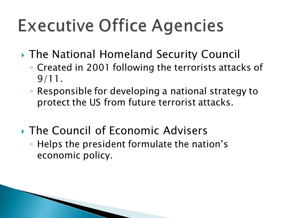  The National Homeland Security Council ◦ Created in 2001 following the terrorists attacks of 9/11. ◦ Responsible for developing a national strategy